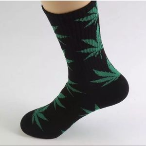 Accessories - Weed leaf print socks.  Green on black cotton.